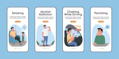 hábitos prejudiciais à saúde na integração de tela de aplicativo móvel modelo de vetor plano