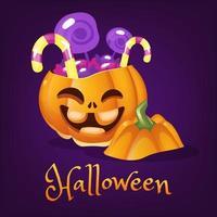 abóbora feliz com ilustração vetorial de desenhos animados de doces. lanterna de halloween sorrindo com letras. autocolante de abóbora laranja realista assustador. tratar ou truque patch em postagem de mídia social de feriado de outono roxo vetor