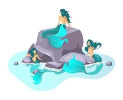 ilustração em vetor plana sirenes. criatura de fada no mar. besta fantástica de meia mulher. monstros encantadores. mitologia grega. sereias em personagem de desenho animado isolado de recife em fundo branco
