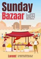 modelo de vetor plana de cartaz de bazar de domingo. mercado do Egito. mercado de rua de Istambul. brochura, capa, projeto de conceito de uma página de livreto com personagens de desenhos animados. folheto publicitário, folheto, boletim informativo