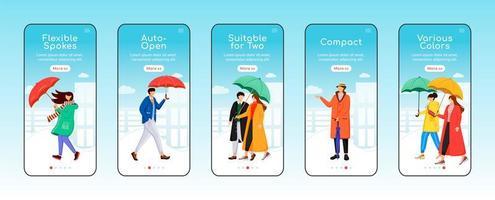 modelo de vetor plana de tela de aplicativo móvel de integração de guarda-chuvas. raios flexíveis. umbel compacto. passo a passo do site com personagens. ux, ui, interface de desenho animado de smartphone gui, conjunto de estampas de capa