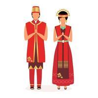 ilustração em vetor plana indonésios. casal adulto. saudações. povo indígena. cultura asiática. pessoas vestidas com roupas vermelhas festivas nacionais, personagem de desenho animado isolado no fundo branco
