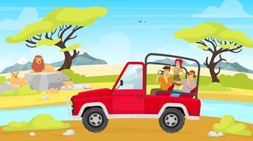ilustração em vetor plana expedição africana. savana com rio. grupo de turistas em família de leão de fotografia de carro. mulher e homem fotografam criaturas. animais e pessoas personagens de desenhos animados