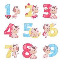números bonitos com conjunto de ilustrações de desenhos animados de girafa bebê. símbolos de fontes engraçadas de matemática escolar e personagens de animais kawaii. adesivos de álbum de recortes de crianças. coleção de números de aniversários e aniversários de crianças vetor