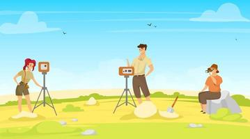 ilustração em vetor plana pesquisa de campo. grupo de estudo, equipe de exploração. pesquisa no local com equipamentos. profissionais da mulher e do homem, exceção da geodésia. exame do solo. cientistas personagens de desenhos animados