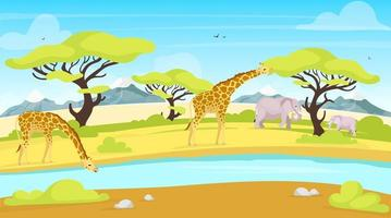 ilustração em vetor plana de conservação africana. girafas e elefantes perto de bebedouro. rio correndo pela savana. paisagem verde. cenário panorâmico. personagens de desenhos animados de animais do sul