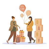 mulheres grávidas com ilustração vetorial plana de presentes. festa do chá de bebê. mães esperando da menina. senhoras se preparando para a maternidade, personagens de desenhos animados isolados em fundo branco vetor