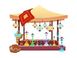 barraca do mercado oriental com ilustração dos desenhos animados dos narguilés Toldo de bazar oriental com shisha, objetos de cor lisa acessórios feitos à mão e lembranças. Egito, barraca do mercado de Istambul isolada no branco vetor