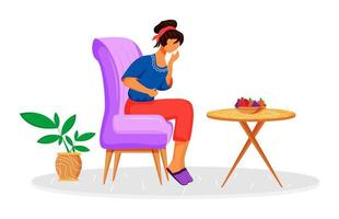 intoxicação alimentar plana cor vetor personagem sem rosto. mulher que sofre de dor abdominal. pessoa com dor de estômago. mulher com cólicas menstruais. sintoma de doença isolada ilustração dos desenhos animados