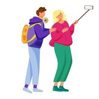 ilustração em vetor plana selfie. dois jovens amigos capturando momentos divertidos da vida. estilo de vida de adolescentes. menino e menina tirando foto do telefone com personagem de desenho animado isolado monopé no fundo branco