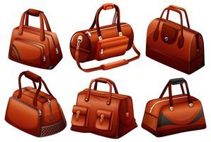 Bolsas marrons em diferentes designs vetor