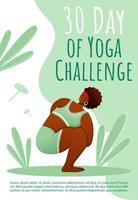 30 dias de modelo de folheto de desafio de ioga. estilo de vida saudável. folheto de ioga bodypositive, livreto, conceito de folheto com ilustrações planas. layout de desenho de página de vetor para revista com espaço de texto