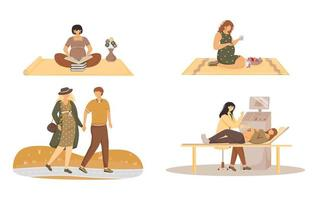 conjunto de ilustrações vetoriais plana de gravidez. estilo de vida de gestação. educação, alimentação saudável, caminhada, exame hospitalar. esperando por personagens de desenhos animados isolados de bebês em fundo branco vetor