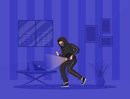 ilustração em vetor cor plana invasão doméstica. ladrão de casa. assaltante com lanterna quebrando em apartamento à noite. ato criminoso. Personagens de desenhos animados 2d, interior no fundo