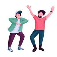 homens dançando personagem sem rosto de vetor de cor plana. amigos elegantes na festa de discoteca de boate. dança moderna, rapazes da discoteca ilustração cartoon isolada para web design gráfico e animação