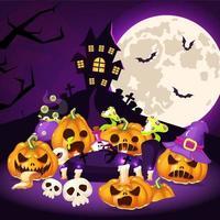 ilustração do vetor dos desenhos animados de halloween. abóboras assustadoras, casa assombrada com cemitério, fundo da lua. decoração assustadora de halloween. assustadora composição decorativa de polpas esculpidas. postagem nas redes sociais do Helleen