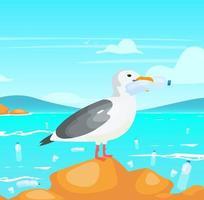 gaivota com ilustração em vetor plana garrafa de plástico. danos à natureza. catástrofe ecológica. poluição de plástico no problema do oceano. pássaro segurando no bico do personagem de desenho animado recipiente descartável