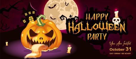 modelo de vetor de faixa plana feliz festa de halloween. layout de design de convite de evento de feriado de outubro. fundo de desenho animado assustador e assustador com abóbora, lua e letras. poster helloween horizontal