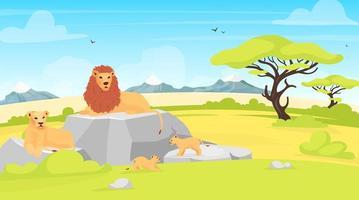 ilustração em vetor plana savana paisagem. ambiente africano com leões deitados na rocha. campo de safári com árvores e criaturas. parque de conservação. personagens de desenhos animados de animais do sul