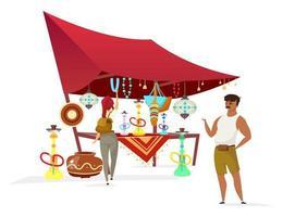Egito bazar cor plana vetor personagem sem rosto. tradicional souk africano, mercado. vendedor muçulmano que vende narguilés, lembranças para ilustração de desenho animado isolada de turista em fundo branco