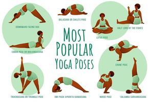 ioga popular representa o modelo de infográfico de vetor verde. corpo feminino pele escura positiva. design de conceito de cartaz com ilustrações planas. folheto de publicidade, folheto, banner com ideia de layout de fluxo de trabalho