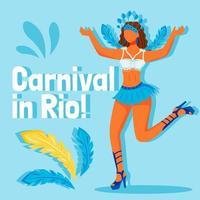 maquete de postagem de mídia social do festival do brasil. carnaval na frase rio. modelo de design de banner da web. reforço de celebração tradicional, layout de conteúdo com inscrição. pôster, anúncios impressos e ilustração plana vetor