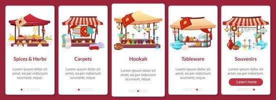 modelo de vetor plano de tela de aplicativo móvel de integração bazar. mercado de rua asiático. feira oriental. passo a passo do site com caracteres isolados em branco. interface de desenho animado de smartphone ux, ui, gui