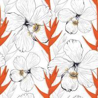 hibisco de padrão sem emenda e fundo abstrato de flor de helicônia. Ilustração em vetor linha arte para design de tecido têxtil