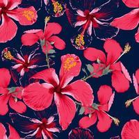 verão tropical sem costura padrão com flores de hibisco vermelho no fundo azul escuro isolado. Ilustração em vetor mão desenho estilo aquarela seco. para projeto de tecido.