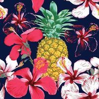 verão tropical sem costura padrão com flores de hibisco e abacaxi no fundo azul escuro isolado. Ilustração em vetor mão desenho estilo aquarela seco.