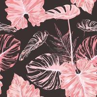 padrão sem emenda monstera folha-de-rosa abstrato background.vector ilustração mão aquarela seca desenho stlye.fabric design texitle vetor