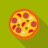 ícone plano de pizza com sombra longa, ilustração vetorial vetor