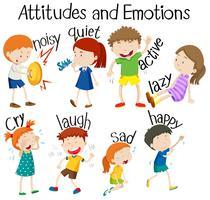 Conjunto de atitudes e emoções vetor