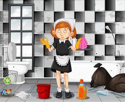 Um, cansado, empregada, limpeza, banheiro vetor
