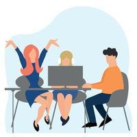 entrevista de emprego, equipe de negócios, exame bem-sucedido - vetor