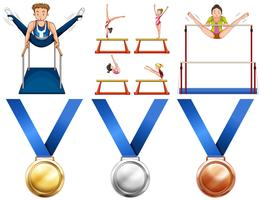 Atletas de ginástica e medalhas de esporte vetor