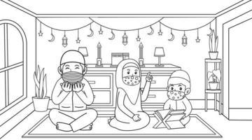 durante a pandemia do vírus corona, os muçulmanos ficam em casa durante o mês do ramadã. atividade muçulmana e orações. Aprendendo muçulmanos, meninos lendo o livro sagrado muçulmano al-quran, usando máscaras e protocolos de saúde. ilustração do livro infantil vetor