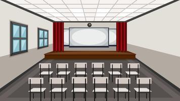 Interior da sala de aula de drama vetor