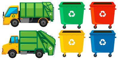 Caminhão de lixo e latas em quatro cores vetor