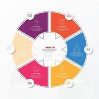 template infográfico de círculo básico com 6 etapas, processo ou opções, gráfico de processo, usado para diagrama de processo, apresentações, layout de fluxo de trabalho, fluxograma, infografia. ilustração em vetor eps10.