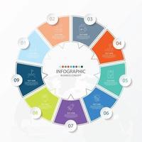 template infográfico de círculo básico com 9 etapas, processo ou opções, gráfico de processo, usado para diagrama de processo, apresentações, layout de fluxo de trabalho, fluxograma, infografia. ilustração em vetor eps10.