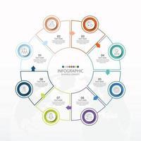 template infográfico de círculo básico com 8 etapas, processo ou opções, gráfico de processo, usado para diagrama de processo, apresentações, layout de fluxo de trabalho, fluxograma, infografia. ilustração em vetor eps10.