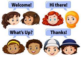 Crianças, dizendo, polido, palavras vetor