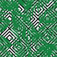 Sem costura padrão exótico com folhas de palmeira sobre fundo geométrico.