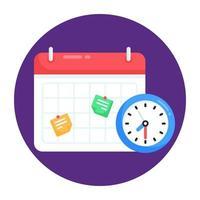 tabela de tempo e calendário vetor
