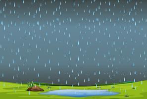 chuva caindo sobre a paisagem simples vetor