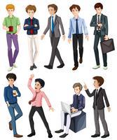 Trabalhadores de escritório masculino em diferentes ações vetor
