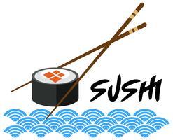 Um modelo de sushi japonês no fundo branco vetor