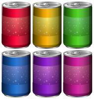 Latas de alumínio em seis cores diferentes vetor
