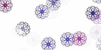 padrão de doodle de vetor de luz roxa com flores.